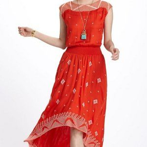 Anthro Nanette Asymmetric Embroidered Dress